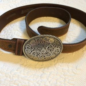 JUSTIN TOP GRAIN COWHIDE BELT W/REMOVABLE BUCKLE